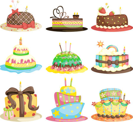 tortas cumpleaÑos: Una ilustración vectorial de diferentes tortas gourmet de cumpleaños Vectores