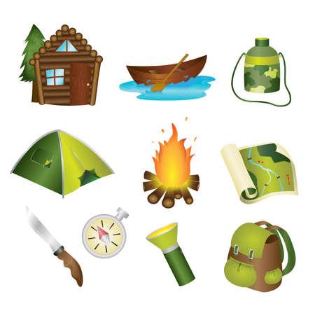 acampar: Una ilustración vectorial de un conjunto de iconos de camping Vectores