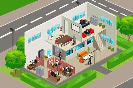 사무실 건물: 비즈니스 사무실 내부 모습의 벡터 일러스트
