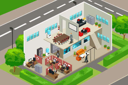 cartoon worker: Una ilustraci�n vectorial de una mirada al interior de una oficina de negocios