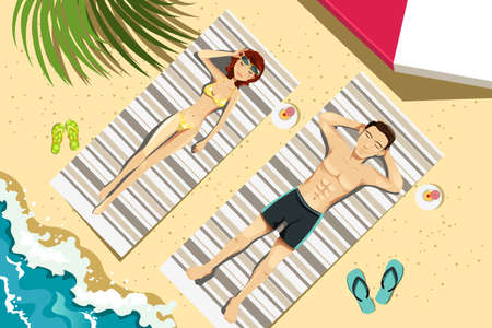 A vector illustration of a couple sunbathing on the beach