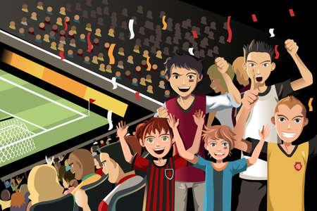 A vector illustration of soccer fans cheering inside the stadium