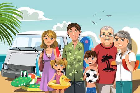 ビーチでの休暇に多世代家族のベクトル イラスト