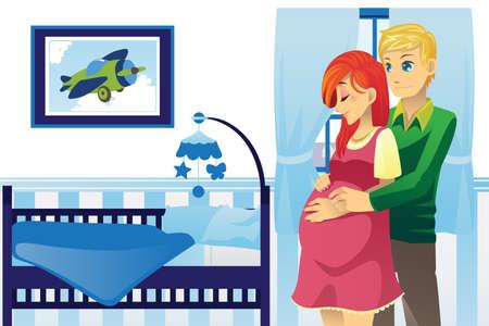 Une illustration de vecteur d'un couple heureux enceinte à la maison Banque d'images - 12497503