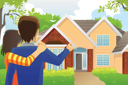outside of house: A vector illustration of a young couple looking at their dream house