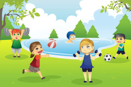 A vector illustration of kids exercising in the park Ilustração