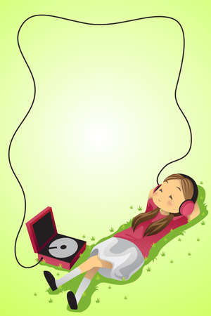 A vector illustration of a girl listening to music Ilustrace