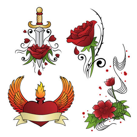 rose tattoo: A vector illustration of different tattoo designs