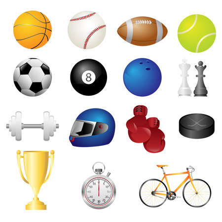 A vector illustration of different sport items icons