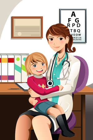 a physician: A vector illustration of a pediatrician with a little child sitting on her lap