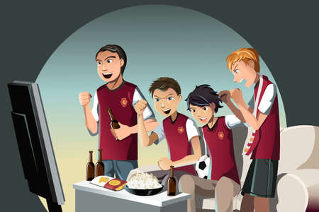 A vector illustration of soccer fans watching the game on the television Ilustracja