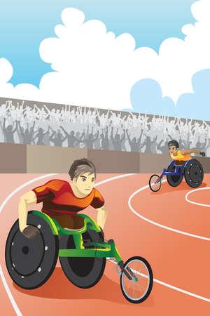 Een vector illustratie van sporters in een rolstoel racen in een wedstrijd in een stadion
