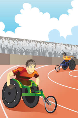 A vector illustration of athletes in wheelchair racing in a competition inside a stadium