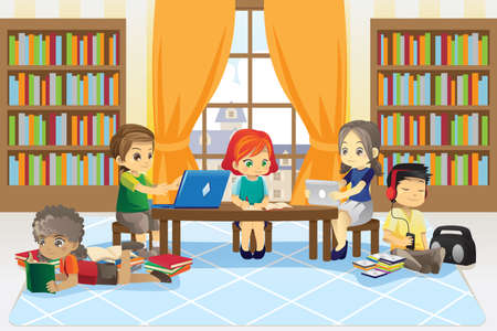 A vector illustration of a group of children in the library