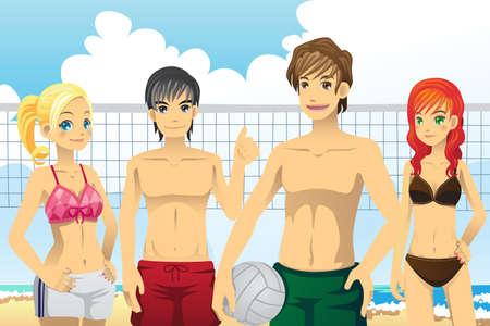 Een vector illustratie van een groep jongeren beachvolleybal