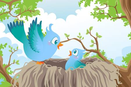 A vector illustration of birds in the nest Vector