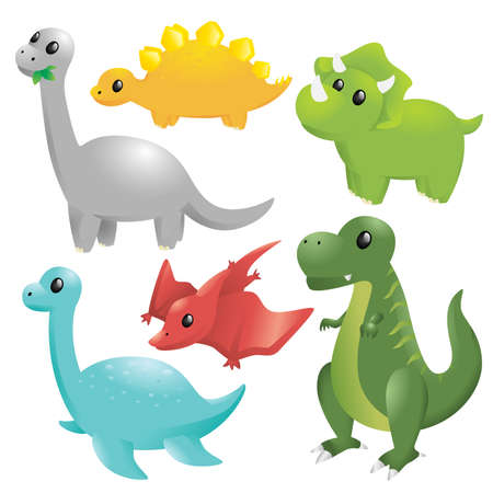 A vector illustration of a set of different dinosaurs Ilustracja