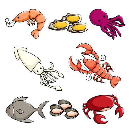 calamar: Una ilustración vectorial de diferentes animales marinos iconos Vectores