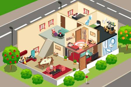 A vector illustration of people doing activities in their home