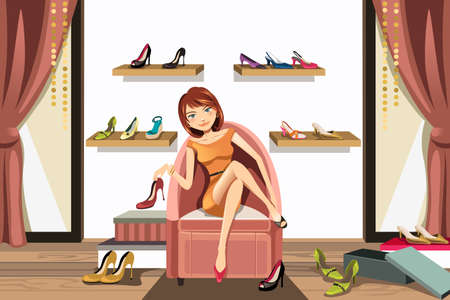 A vector illustration of a woman in a shoes store shopping for shoes Çizim