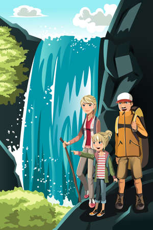 family vacations: A vector illustration of a family going hiking