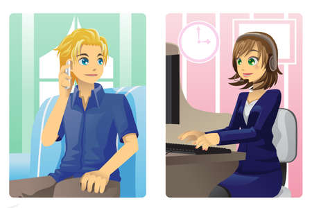 customer service phone: A vector illustration of a customer and a customer service representative talking on the phone