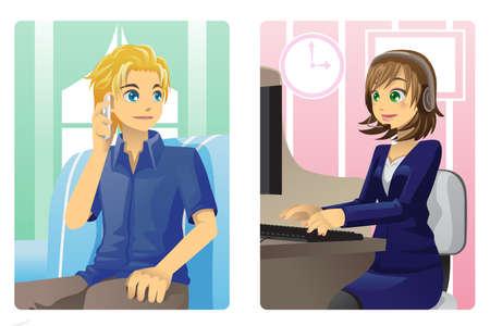 call center woman: Una ilustraci�n vectorial de un cliente y un representante de servicio al cliente hablando por tel�fono