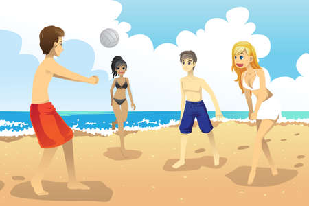 beach volleyball: A vector illustration of a group of young people playing beach volleyball