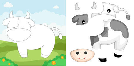A vector illustration of a cow puzzle