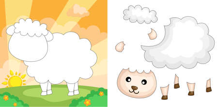 A vector illustration of a sheep puzzle