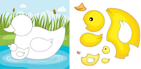 children pond: A vector illustration of a duck puzzle