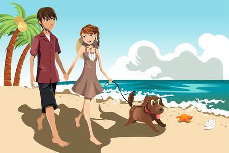 A vector illustration of a young couple walking on the beach with their dog