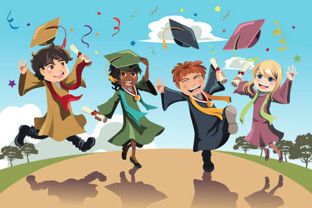 A vector illustration of students celebrating graduation Illustration