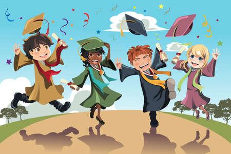 birrete de graduacion: Una ilustración vectorial de los estudiantes celebran su graduación