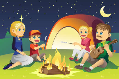 holiday spending: A vector illustration of a family camping