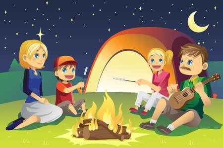 lägereld: En vektor illustration av en familj camping