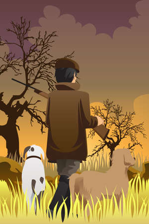 A vector illustration of a hunter going hunting with his two dogs Stock Illustratie