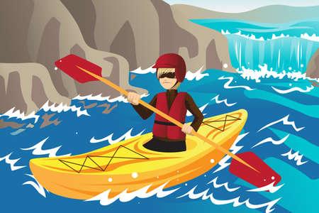 Een vector illustratie van een man kajakken in de rivier