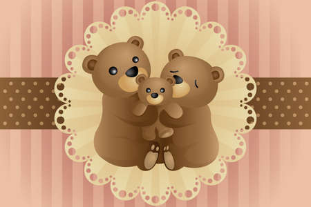 brown background: A vector illustration of a bear family hugging