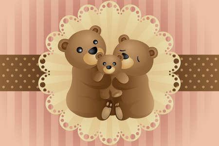 Een vector illustratie van een beer familie knuffelen