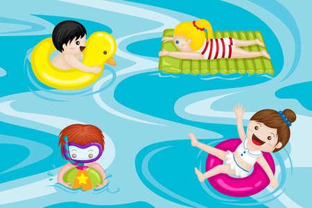 スイミング プールで泳いでいる子供のベクトル イラスト