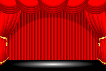 theater auditorium: A vector illustration of a red stage background Illustration