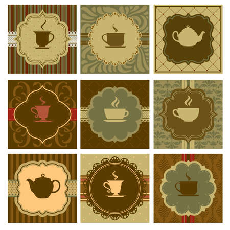 A vector illustration of different coffee designs