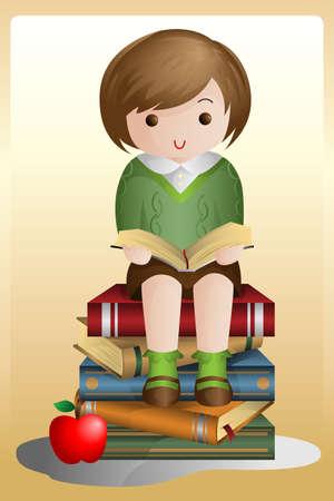 Een vector illustratie van een jonge student het lezen van een boek zittend op een stapel boeken