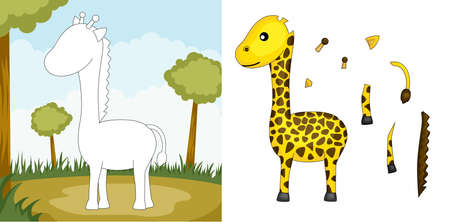 piece: A vector illustration of a giraffe puzzle Illustration