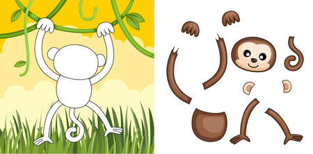 A vector illustration of a monkey puzzle Illusztráció