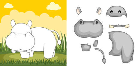 A vector illustration of a hippo puzzle