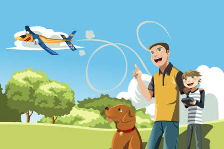 A illustration of a father and his son playing remote controlled airplane outside