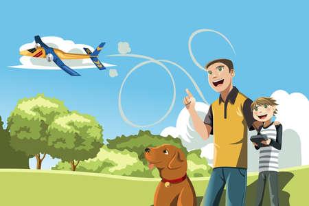 padre e hijo: Un ejemplo de un padre y su hijo jugando al avión a control remoto fuera de
