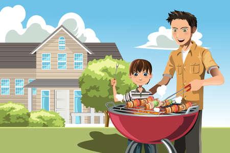 Een illustratie van een vader en zijn zoon het doen barbecue thuis